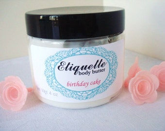 Birthday Cake Body Butter4 oz. jar Paraben Free, sweet vanilla cream frosting scent cake fragrance, shea butter lotion