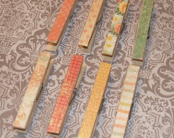 Set of 8 Decoupaged Glittered Clothes Pins - Bonjour Set - Shabby Chic, French Country, Rustic, Beach, Chippy Cottage, Wedding