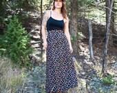 70s Quilted High Waist Maxi Skirt