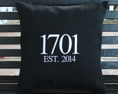 House Number Outdoor Pillow Cover in Black
