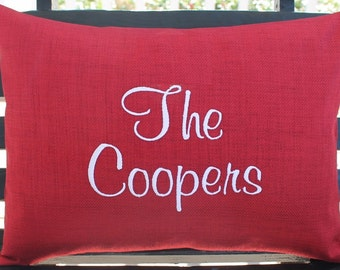 Personalized Outdoor Pillow Cover in Cherry Red | Last Name| Monogrammed | Housewarming | Wedding | Date | Gift | Embroidered