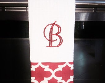 Red  and White Quatrefoil Monogrammed Dish Towel or Hand Towel