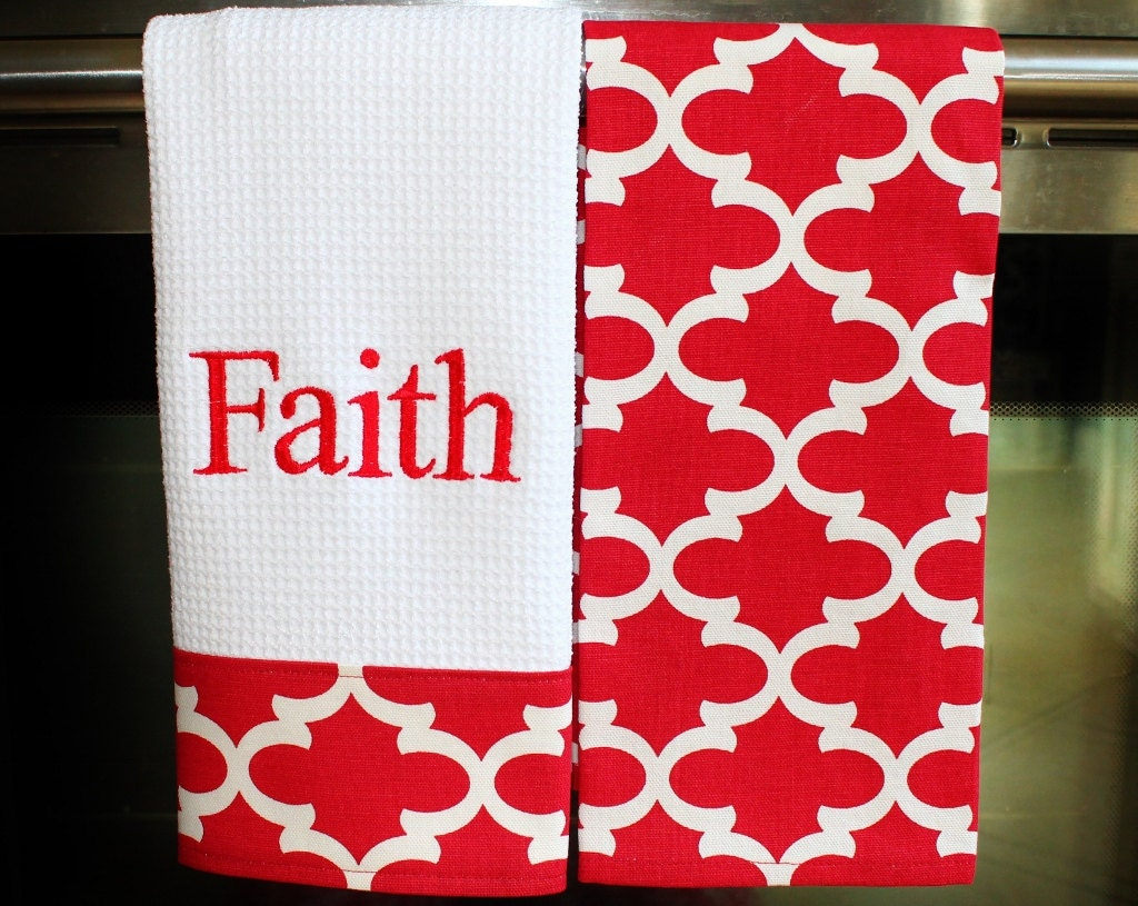 Monogram Kitchen Towels Or Hand Towels In Red Quatrefoil