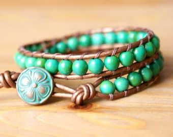 Moss Green Magnesite gemstone leather wrap bracelet, boho stacking bracelet, bohemian artisan jewelry, layering, hipster, gift idea