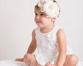 Vintage Inspired Crystal and Ivory Cream Flower Headband, Baby Headband, Christmas Headband, Infant Headband