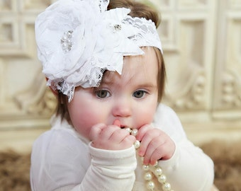 White Christening Baby Headband Baptism Blessing Accessories Infant Toddler Hair Kids