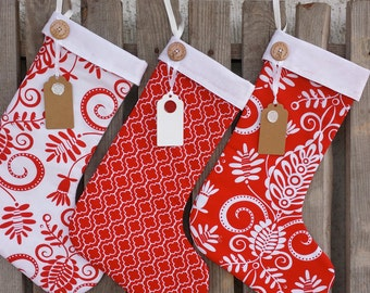 Family Christmas Stockings - matching christmas stockings, personalized, red and white floral, chevron