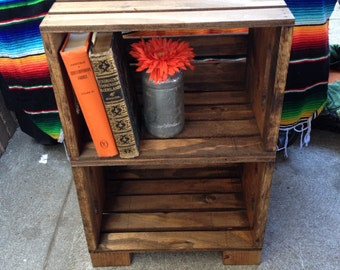 Handmade Wood Crate Night Stand (Original/Provincial)