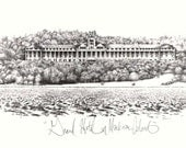 Grand Hotel Mackinac Island- Vintage Inspired Black and White Lithograph Art Print