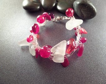 Silver Wire Crochet Bracelet with Red Glass Beads and White Scottish Sea Glass, Mermaid Bracelet, Sea Glass Jewelry, Magnetic Clasp