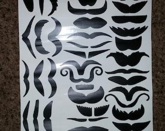 Vinyl Mustaches Stickers - 63 different Mustache Varities