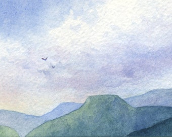 Original ACEO watercolor painting - Beyond the highest mountains