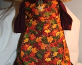 American Girl doll dress 18 in doll dress fall harvest dress, hat, petticoat, apron leaves fall colors Thanksgiving maroon yellow orange