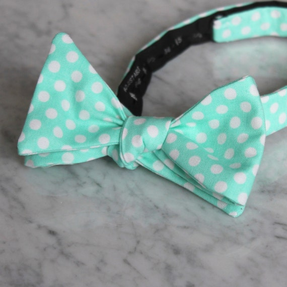 Bright Mint Green Polka Dot Bowtie - Groomsmen and wedding tie - clip on, pre-tied with strap or self tying