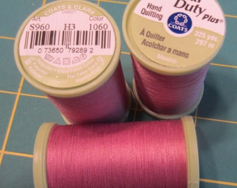3 spools of Coats & Clark S960 Hand Quilting Thread Tex 40 325 yds - #1060 Almond Pink