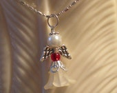"""Handmade Angel 16"""" Necklace 5-Petal Ivory Flower Bead with Red Czech Glass bead, and White Glass Pearl - Silver Wings and wire"""