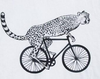 Mens cheetah on a bike t shirt -American Apparel white- S, M, L, XL - Worldwide Shipping
