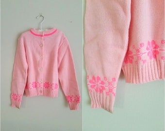 Vintage 1960s Girls Pink Sweater / Cardigan / Size 7 / Pink Snowflakes