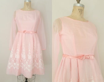 1950s Prom Dress // Love At First Blush Dress // Vintage 50s Party Dress // XS