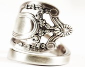 Royal Victorian Ring in Vintage Sterling Silver Spoon Ring Monticello by Lunt, Handmade 925 Flatware Jewelry, Adjustable Ring Size (6450)