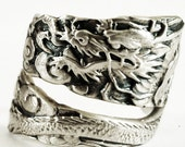Asian Dragon Ring, Spoon Ring Sterling Silver Dragon Ring, Japanese Dragon Gift, Handmade Ring, Gothic Ring, Mens Gift, Adjustable Ring Size