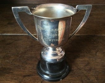 Vintage English Engraved Medium Trophy Cup Goblet / Newick Levellers Cup 1957 E.C. Attrell / English Shop