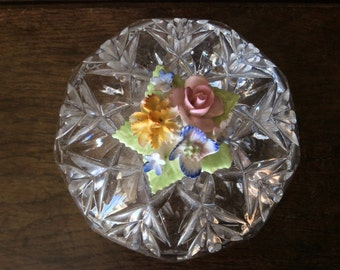 Vintage English Crystal Glass Trinket Jewellery Jewelry Box with Flower Topping circa 1960-70's / English Shop