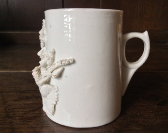 Antique English White 3D Ceramic Cup Mug circa 1910's / English Shop
