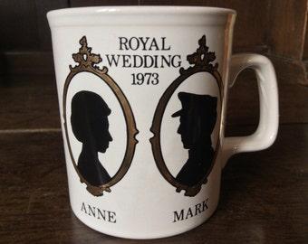 Vintage English Royal Wedding Princess Anne Tea Cup Mug circa 1970's / English Shop