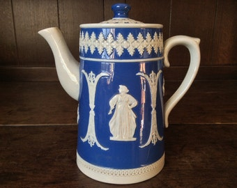 Vintage English Jasper Ware Style Blue White Tea Coffee Pot circa 1950's / English Shop