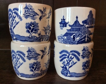Vintage French Blue White Egg Cups Mixed Lot of 4 circa 1950's / English Shop