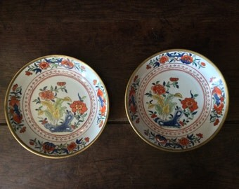 Vintage Brass Cased Hand Painted Gold Hong Kong Bowls Set of 2 Side Plate Saucer circa 1960's / English Shop