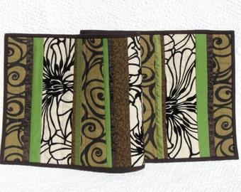 Bold brown and spring green patchwork table runner in velvet and satin