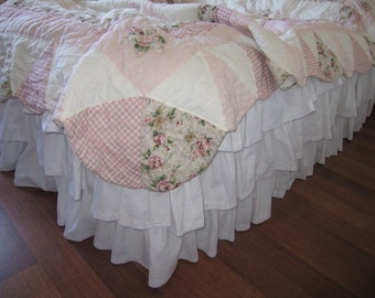 Queen or king white linen waterfall ruffle bed skirt,Dust ruffle,shabby chic beach cottage bedding, 3 row layered waterfall ruffle bedskirt