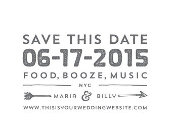 Food, Booze, Music // Save The Date Stamp - Wedding Save The Date Stamp