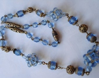 Art Deco Necklace Pale Blue Glass Beads and Knots 20's 30's