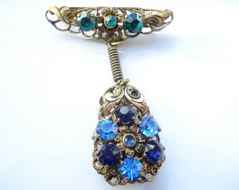 Art Deco Unusual Czech Blue Glass and Goldtone Brooch 1930's 1920's