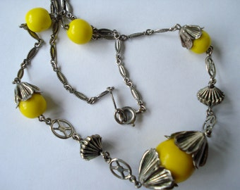 Art Deco Necklace Chrome and Yellow Glass 1920's 1930's