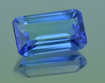 4.42ct Tanzanite Emerald cut gemstone 12.01 by 7.24 by 5.29mm Certified VVS grade