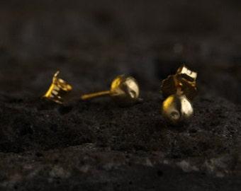 Gold stud earrings, post earrings, small earrings, delicate, classic, bridal, wedding earrings, gift for her, handmade, LOVE