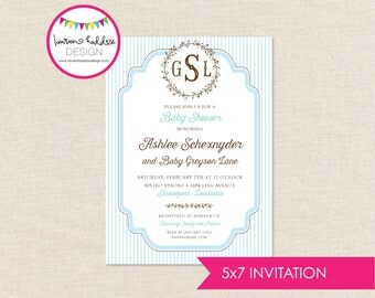 DIY, Monogram Baby Shower INVITATION ONLY