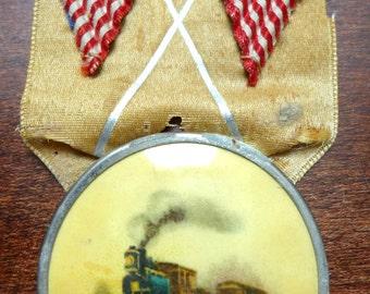 Antique Whitehead & Hoag Locomotive Railroad American Flag Badge Medallion