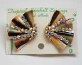 Vintage Rhinestone Sea Shell Earrings 1950s 50s Aurora Borealis Souvenir NOS