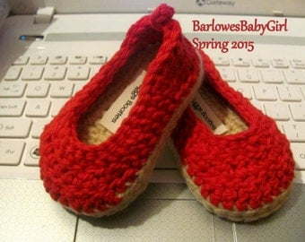 NEW - Buggs - Crochet Baby Espadrille Wedge Shoes w/ Ankle Cord in Cotton Yarn - Bright Red