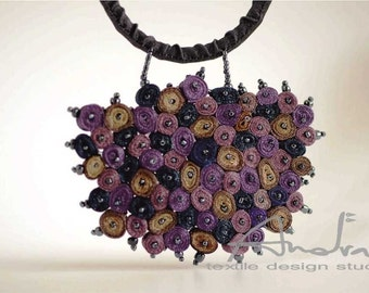 Textile  necklace, statement necklace purple - Handmade textile jewelry - OOAK ready to ship