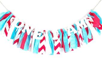 Aqua and Red Birthday Banner - Highchair Banner - Birthday Party Decor - Banner - Garland - Photoshoot Prop