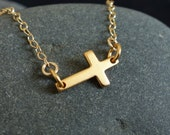 Sideways Cross Necklace in Gold, christmas gift, simple, everyday, charm necklace, choker, cross necklace