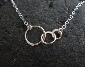 Tiny Three Linked Circles Pendant Necklace in Sterling Silver, Mother's Day Gifts, entwined, interlocking circles, wedding, bridal