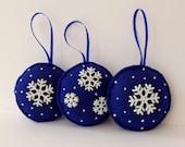 Blue night sky felt Christmas tree ornament - Set of 3 blue Christmas tree decoration - Blue and snowflakes - Holiday blue decoration