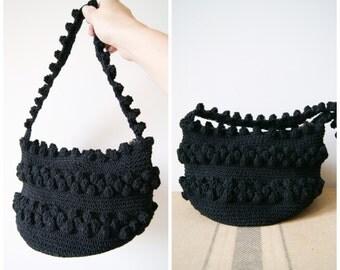 Corde Purse Vintage 50s Black Handbag Woven Mini Bucket Bag 1950s